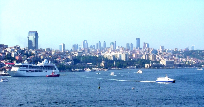 Cruise ship and Seabus in Istanbul